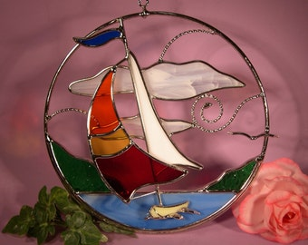 Stained Glass Suncatcher Sailboat  Riding the Waves (608)