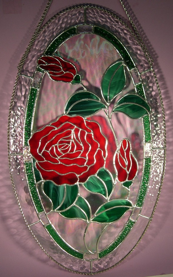 Stained Glass Rose with Buds