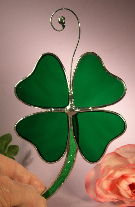 Stained Glass Shamrock Four Leaf