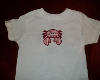 Crab Appliqued Tshirt - Short Sleeve Toddler Tshirt sizes 12 months to 5/6