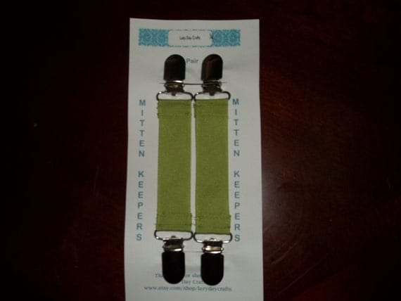 MITTEN KEEPERS - 1 Pair of Heavy Duty Mitten Clips - Charteuse