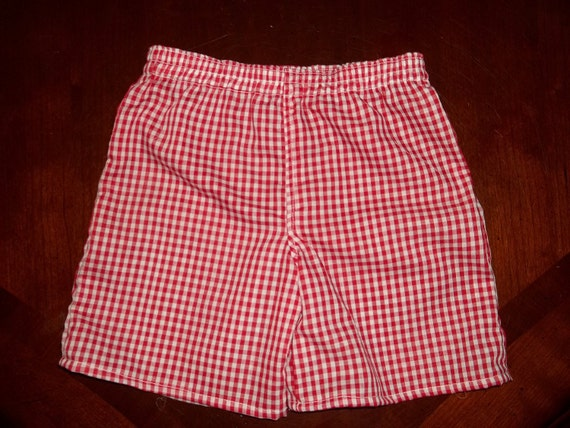 Red Gingham Check Shorts - Toddler Boys or Girls- Size 12 months to 4T