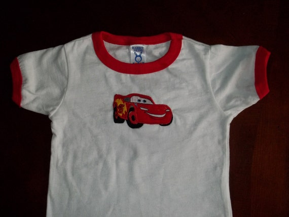 Disney Cars Lightning McQueen Appliqued TShirt - White and Red Ringer TShirt - sizes 2t to 5/6