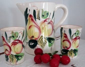 Vintage Pitcher and Juice Glasses Set - Fruit Motif - Country Cottage