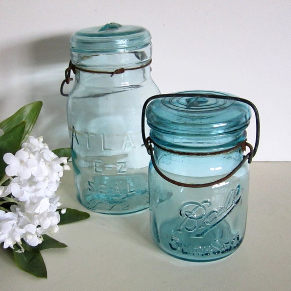 Ball and Atlas E-Z Seal Aqua Glass Canning Jars