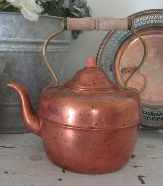 Copper Tea Pot - French Country Farmhouse