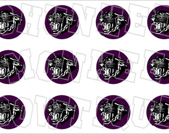 Black panther with purple background bottlecap image sheet - school mascot