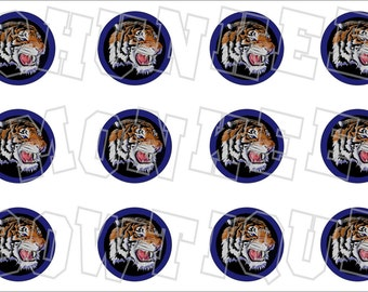 Tiger head with blue background bottlecap image sheet - school mascot