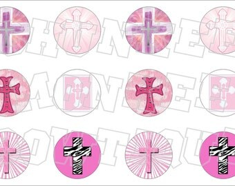 Assorted Pink Crosses bottlecap image sheet