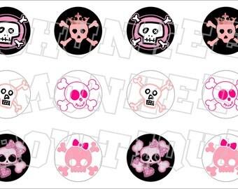 Assorted Pink and Black Girly Skulls bottlecap image sheet