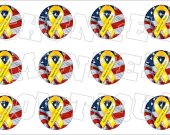 Support Our Troops yellow awareness ribbon bottlecap image sheet