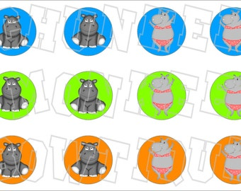 cute little Hippo bottlecap image sheet