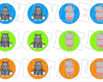 cute little Hippo bottlecap image sheet