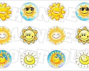 Smiling Summer Sun yelllow bottlecap image sheet