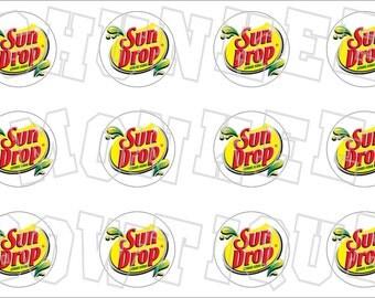 Sun Drop soda inspired yelllow bottlecap image sheet