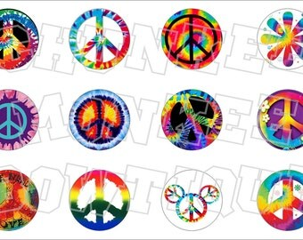 Tie Dye Peace Signs bottlecap image sheet