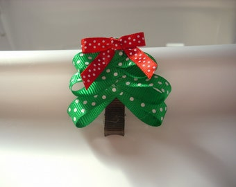 Cute little Christmas Tree holiday hair clippie