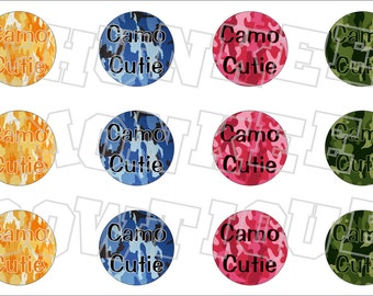 Camo Cutie assored colors bottlecap image sheet