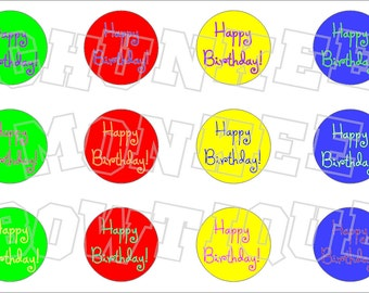 Happy Birthday bottlecap image sheet