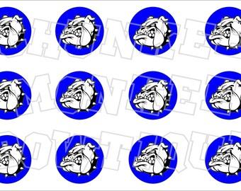 Bulldog Royal Blue background bottlecap image sheet - school mascot