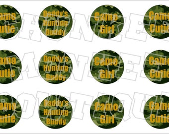 Camo Cutie green and gold bottlecap image sheet