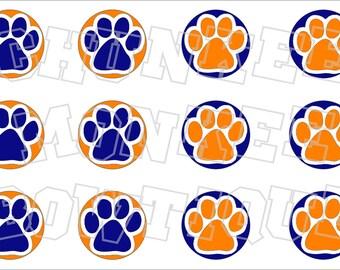 half orange half royal blue paw print bottlecap image sheet pawprint