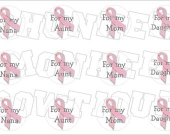 Pink Awareness Ribbon with writing bottlecap image sheet