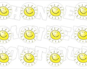 Smiling Summer Sun  No. 2 yelllow bottlecap image sheet