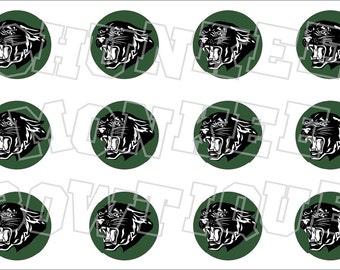 Black panther with hunter green background bottlecap image sheet - school mascot