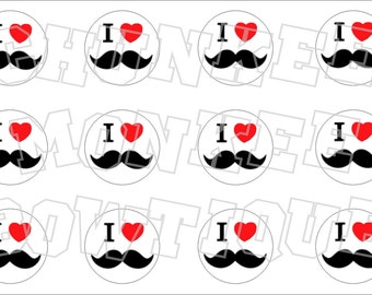 I Love Mustaches bottlecap image sheet
