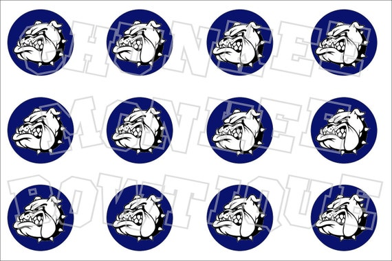 Bulldog navy blue background bottlecap image sheet - school mascot