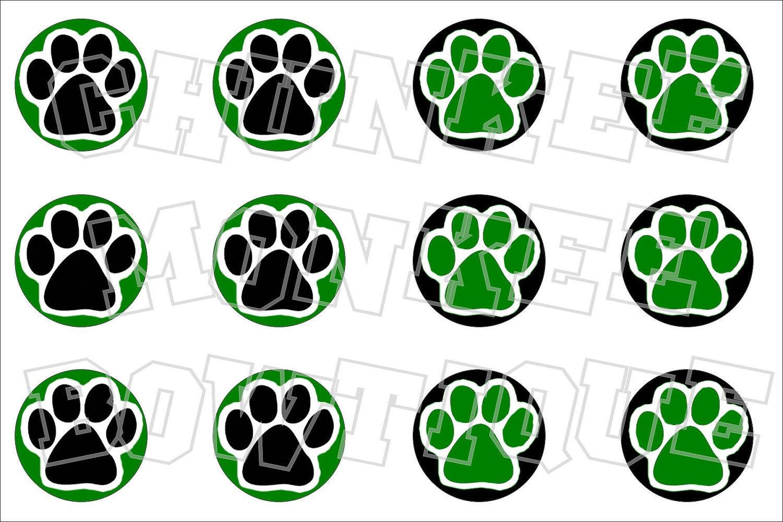 Panther Paw Logos Black Panther Paw Green Black