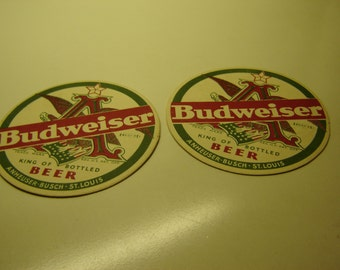 Budweiser Beer cardboard coasters, qty 2, vintage, 1930s, Hard to Find, collectible barware, beer advertising, reduced price, guy gift