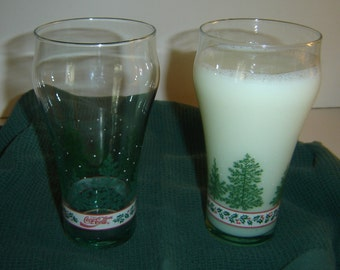 Coca-Cola Libbey Christmas holiday glasses, green holly and pine trees, 16 oz., qty 2, collectible, bell shape glasses, under 10