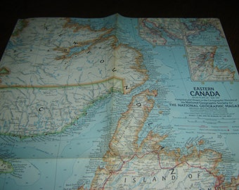 "Eastern Canada National Geographic map, 25""w x 19""h, May 1967, cartography, borderless, multicolor, wall art or supply for crafts, vintage"