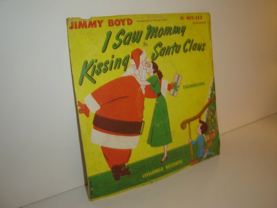 Vintage 78rpm record, I Saw Mommy Kissing Santa Claus/Thumbelina by Jimmy Boyd, circa 1950s