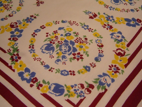 Vintage blue, yellow, cranberry, white 1950s tablecloth, 47 x 54, shabby chic, retro, country, cottage, shabby chic, ready to ship, REDUCED