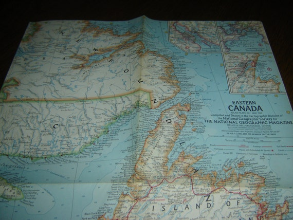 """Eastern Canada National Geographic map, 25""""w x 19""""h, May 1967, cartography, borderless, multicolor, wall art or supply for crafts, vintage"""