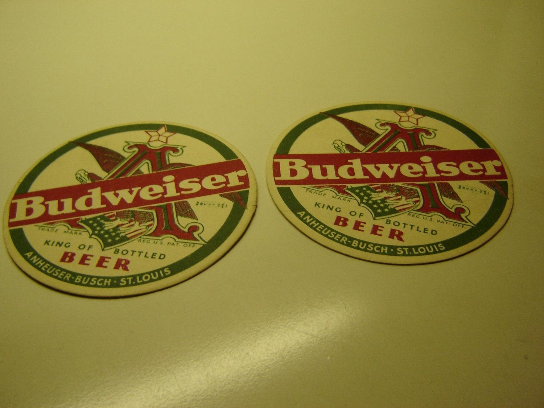 Budweiser beer cardboard coasters vintage 1930s qty 2 hard - Cardboard beer coasters ...