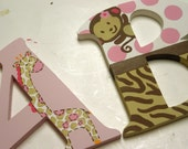 Jungle Jill Hand Painted Wooden Letters - Nursery Letters - Custom
