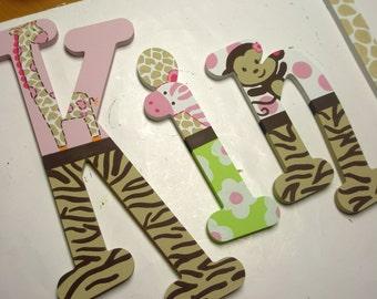 Hand Painted - Jungle Themed Letters - Custom - Nursery Letters