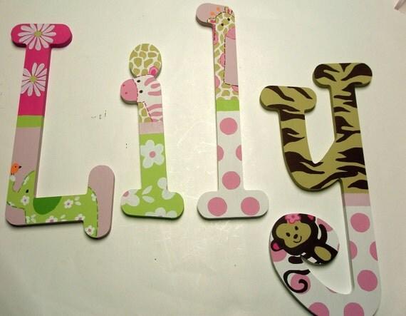 Jungle Jill Nursery Letters - custom - hand painted - wooden