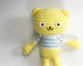 Crochet  Amigurumi Teddy Bear/ Crochet Stuffed Yellow Bear Plushy Toy- Lemon Yellow Bear in Baby Blue and White Stripes Top