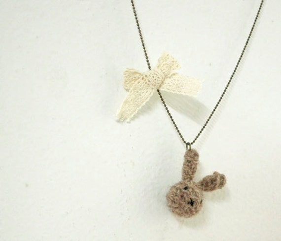 Reclaimed Wool Amigurumi Bunny Rabbit Necklace - Brown and Cream ( Last One)