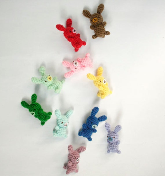 Colorful Small Amigurumi Bunny Rabbit included NEW Colors - Choose your own color