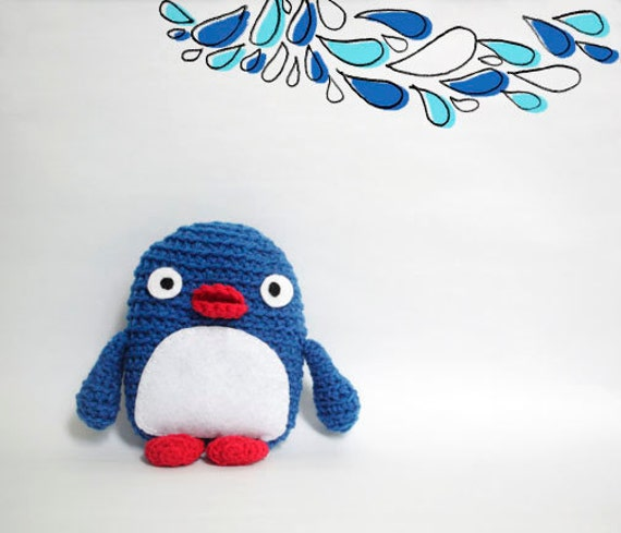 Blue Penguin Plush Amigurumi/Crochet Penguin with Blue, White and Red
