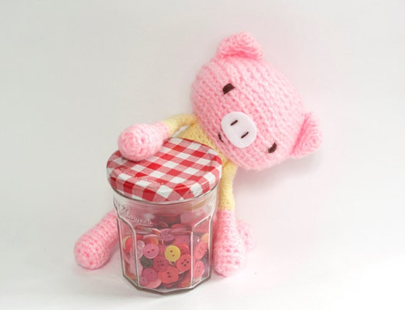 Crochet Amigurumi Pig in Baby Pink and Pastel Yellow top, Pink Piggy Stuffed Doll