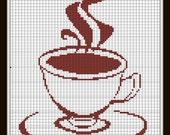 Cross Stitch Pattern tea Coffee pattern Silhouette Handmade pdf
