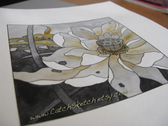"PRINT of original watercolor - ""LOTUS"" - best gift - strong graphic style - 8"" x 8"""