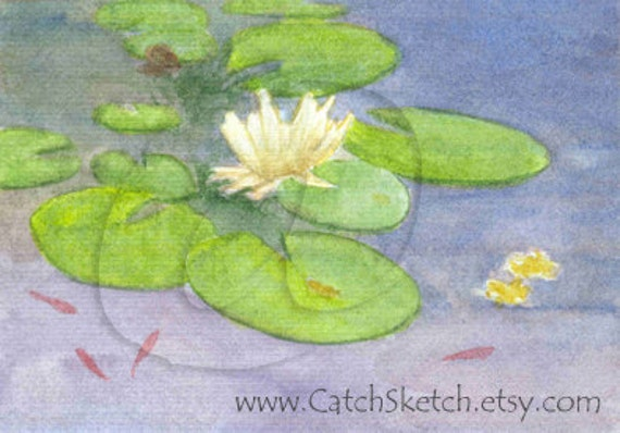 Original ACEO - 'Lotus and Fishes' - Gift for Him - Gift for Her - Watercolor Art